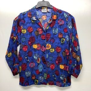 CHICO'S Size M 100% Silk button front Shirt